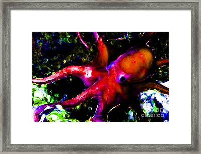 Creatures Of The Deep - The Octopus - V3 - Electric - Orange Framed Print by Wingsdomain Art and Photography