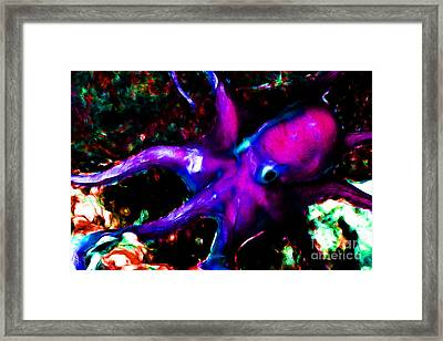 Creatures Of The Deep - The Octopus - V3 - Electric - Violet Framed Print by Wingsdomain Art and Photography