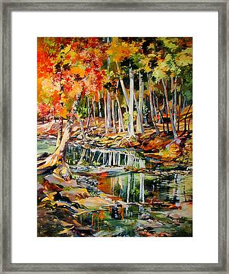 Framed Print featuring the painting Creekbed Fall Colors by Rae Andrews