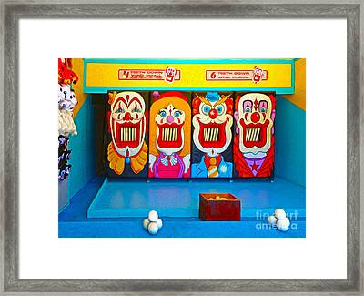 Creepy Clown Game Framed Print by Gregory Dyer