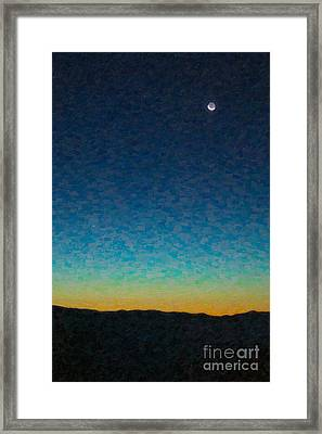 Crescent Moon And Mercury In Oil Framed Print