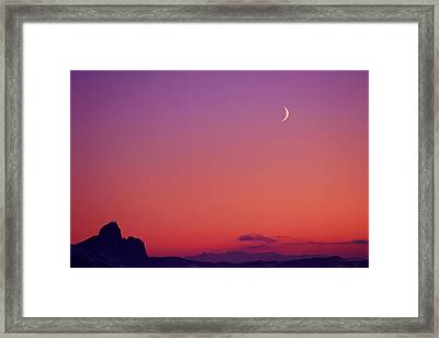 Crescent Moon At Dusk, Garibaldi Park Framed Print by Stockbyte