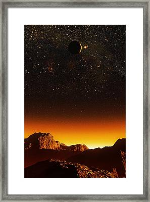 Crescent Moon, Computer Artwork Framed Print by Mehau Kulyk