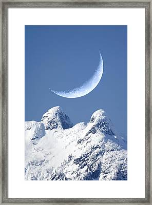 Crescent Moon Over The Lions, Canada Framed Print by David Nunuk
