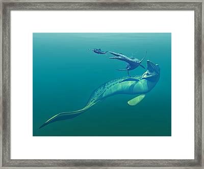 Cretaceous Marine Predators, Artwork Framed Print