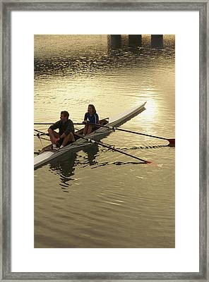 Crew Model Released Rowers Take A Break Framed Print by Phil Schermeister