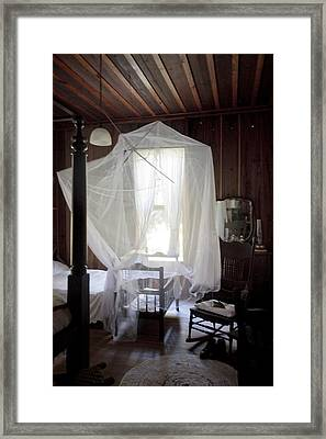 Crib With Mosquito Netting In A Florida Cracker Farmhouse Framed Print