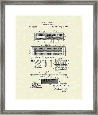 Cribbage Board 1885 Patent Art Framed Print by Prior Art Design
