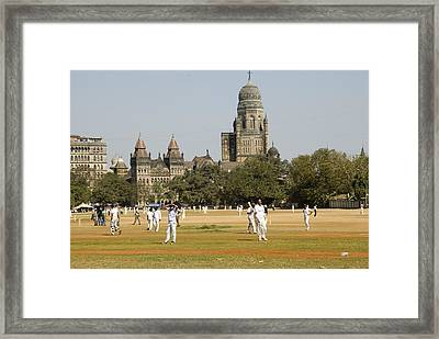 Cricket Match At Azad Maidans In Fort Framed Print