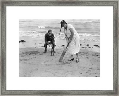 Cricket On Beach Framed Print by Brooke