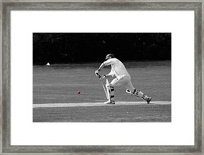 Cricketer In Black And White With Red Ball Framed Print