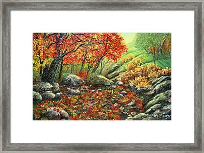 Crimson Lights Up The Forest Framed Print