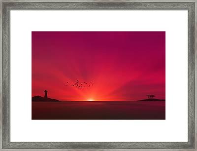 Crimson Sunset Framed Print by Tom York Images