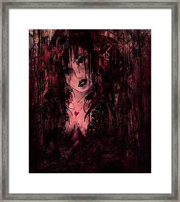 Crimson Torn Lace Framed Print by Rachel Christine Nowicki
