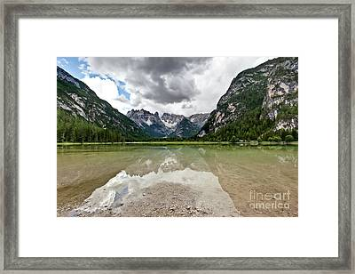 Framed Print featuring the photograph Cristallo Mountains Reflection Dolomites Northern Italy by Charles Lupica