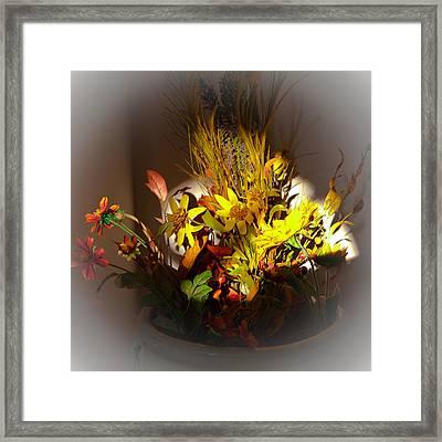 Crock Pot Full Of Flowers Framed Print