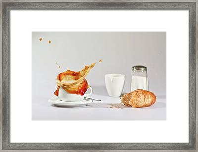 Croissant  And Coffee Splash Framed Print