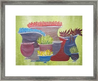 Crooked Pots Framed Print by Rachel Carmichael