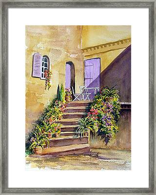 Crooked Steps And Purple Doors Framed Print by Sam Sidders