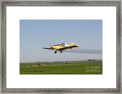 Crop Duster Flying Over Farm  Framed Print by Cindy Singleton