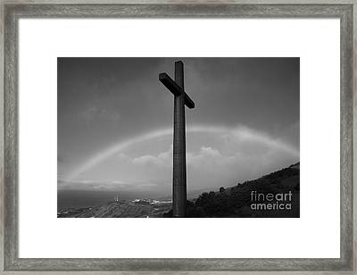 Cross And Rainbow Framed Print by Gaspar Avila