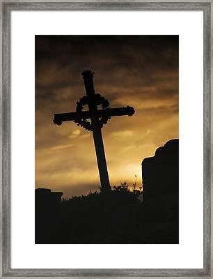 Cross At Sunset Framed Print by John Short