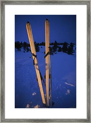 Cross-country Skis Standing Upright Framed Print by Phil Schermeister