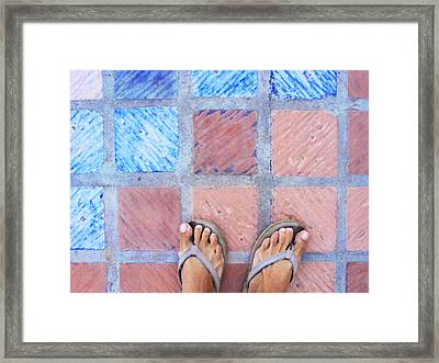 Cross-legged On A Colorful Sidewalk Framed Print by Anne Mott