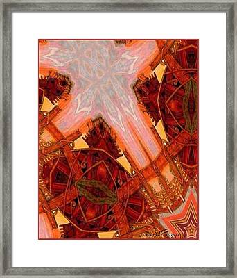 Framed Print featuring the mixed media Cross Nine Eleven Aftershock  by Ray Tapajna