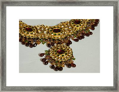 Cross Section Of A Purple And Yellow Gold Beautiful Necklace Framed Print by Ashish Agarwal