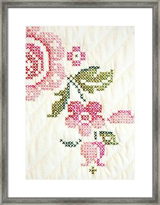 Cross Stitch Flower 1 Framed Print by Marilyn Hunt