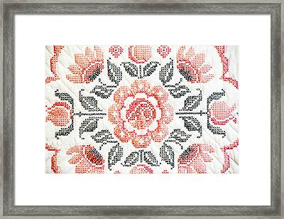 Cross Stitch Roses Framed Print