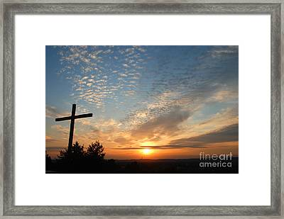 Cross Sunset Framed Print