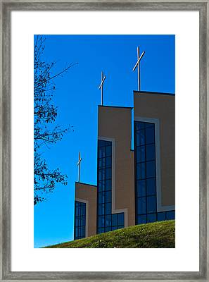 Framed Print featuring the photograph Crosses Of Livingway Church by Ed Gleichman