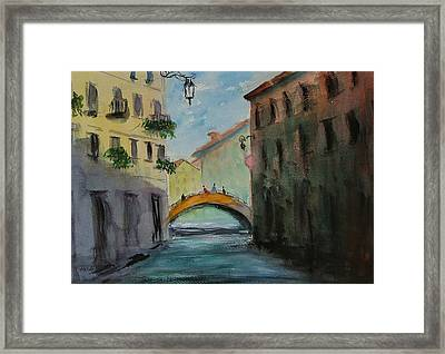 Crossing The Canal Framed Print