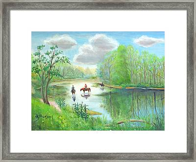 Framed Print featuring the painting Crossing The Neshaminy by Oz Freedgood