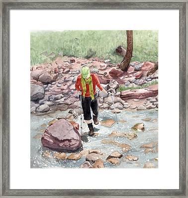 Crossing Virgin Stream Framed Print by Inger Hutton