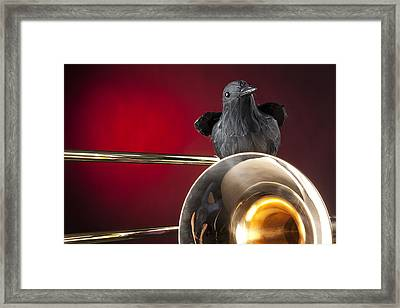 Crow And Trombone On Red Framed Print by M K  Miller