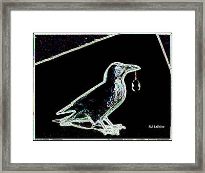 Crow With Crystal 3 Framed Print