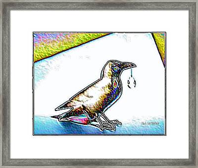 Crow With Crystal 4 Framed Print