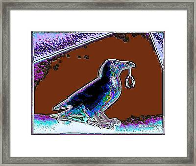 Crow With Crystal 5 Framed Print
