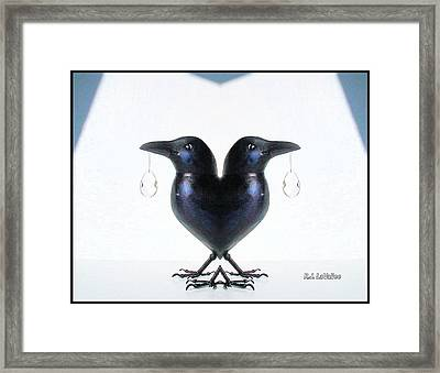 Crow With Crystal 6 Framed Print