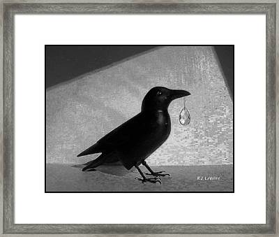 Crow With Crystal 7 Framed Print