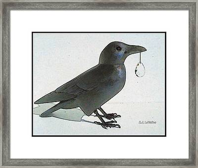 Crow With Crystal 8 Framed Print