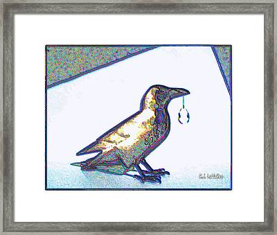 Crow With Crystal1 Framed Print