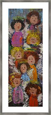 Crowd Of Angels Framed Print by Kathy  Cuiffi