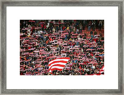Crowd Of Fans Raise Scarves In Support Of Red Star, One Of Sebia's Premier Soccer Teams Framed Print by Greg Elms