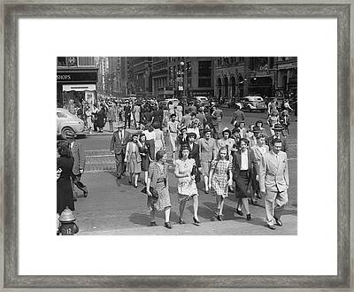 Crowd On 42nd St And 5th Avenue, Nyc Circa 1940s Framed Print by George Marks