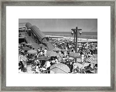 Crowded Beach, (b&w), Elevated View Framed Print by George Marks