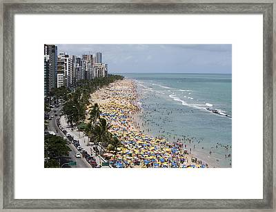 Crowded Sunday Afternoon Beach Framed Print by Holger Leue